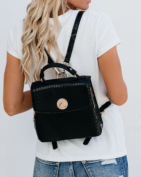 Moonlit Croc Embossed Backpack - Black