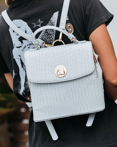 Moonlit Croc Embossed Backpack - Ice Blue