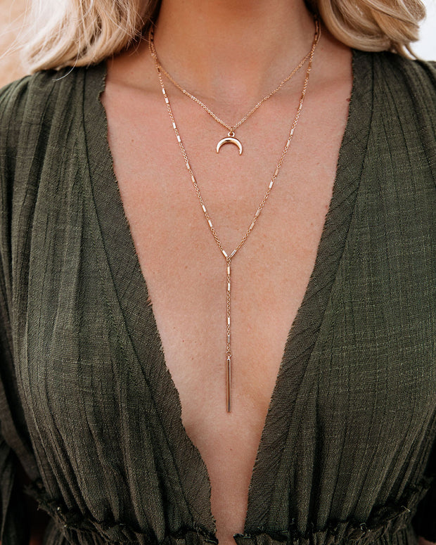 Moonstone Layered Bar Necklace