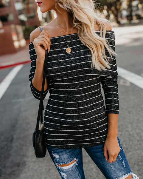 Morgana Brushed Knit Off The Shoulder Top - Black