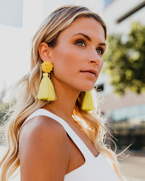 Morris Beaded Fringe Earrings - Yellow