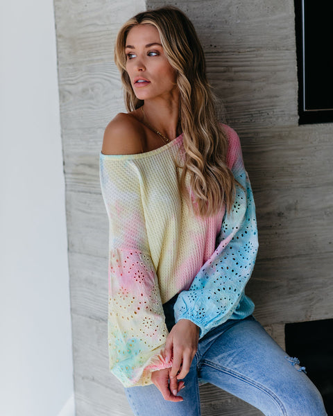 Motley Contrast Eyelet Tie Dye Thermal Top