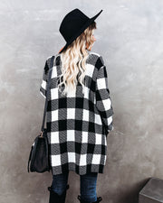 Mountaintops Of Snow Pocketed Checkered Cardigan