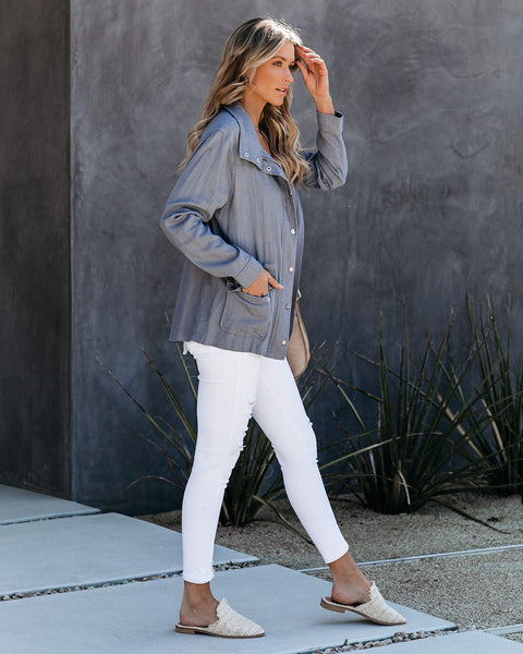 Mount Diablo Pocketed Linen Blend Utility Jacket - Blue Grey - FINAL SALE
