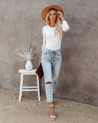 Much Obliged Long Sleeve Bodysuit - White