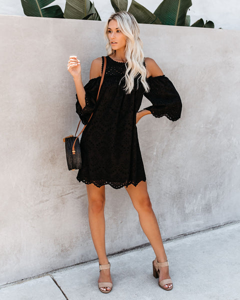 Must Be Dreaming Cold Shoulder Cotton Eyelet Dress - Black