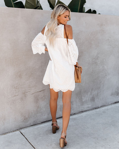 Must Be Dreaming Cold Shoulder Cotton Eyelet Dress - White