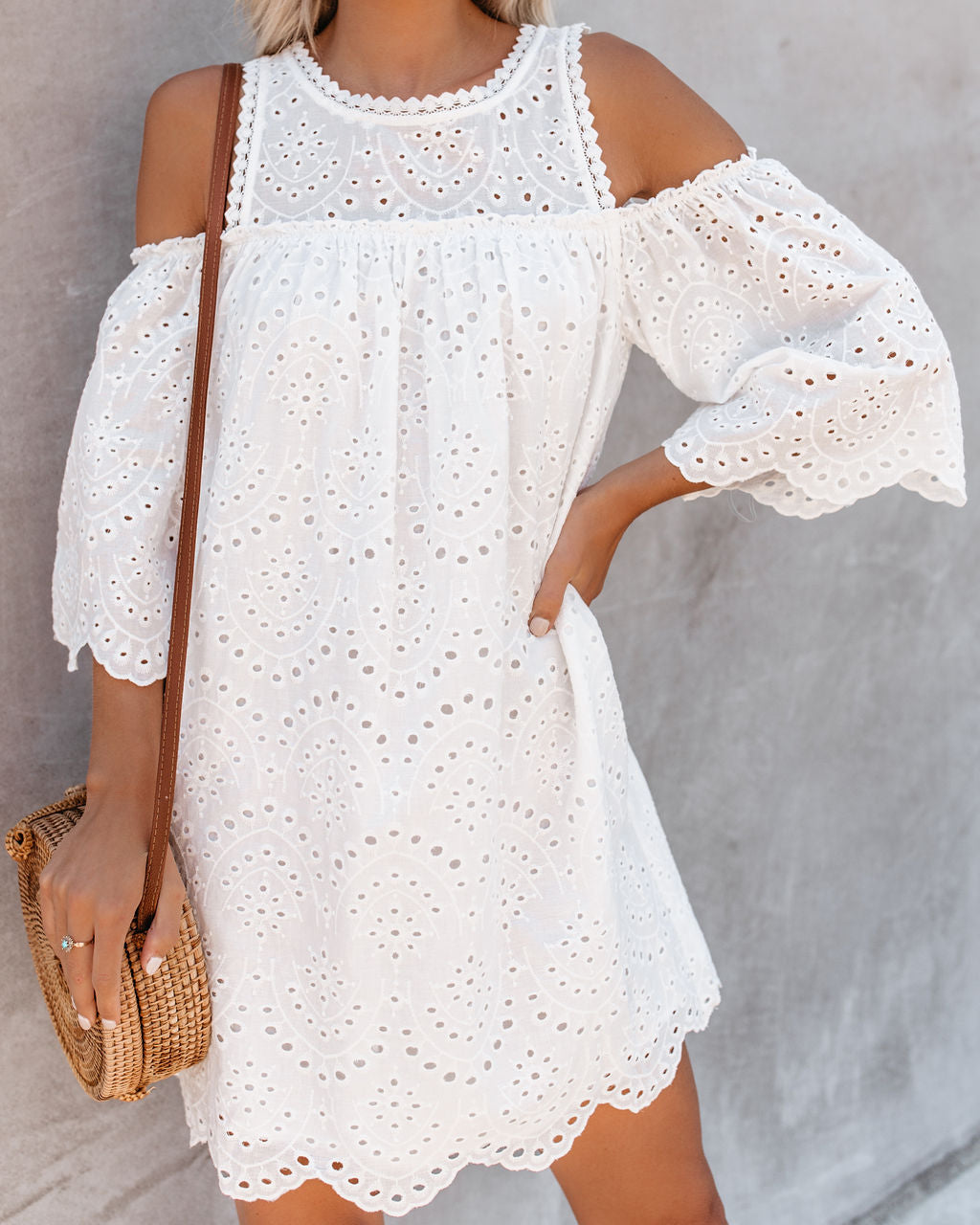 2c2a2ad3d0c Must Be Dreaming Cold Shoulder Cotton Eyelet Dress - White – VICI