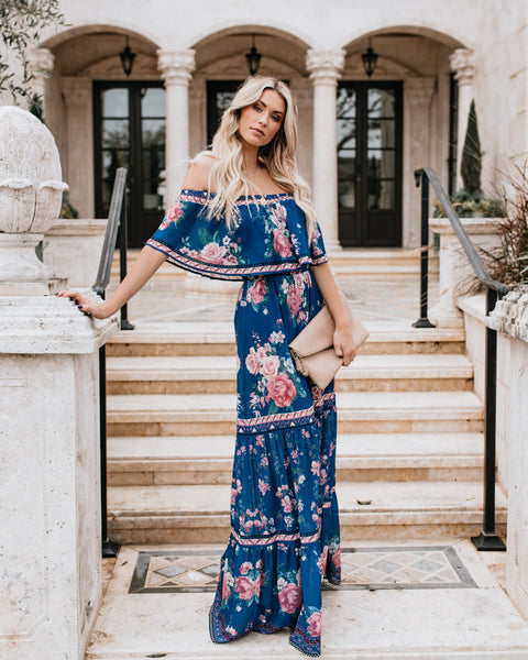 My Everything Off The Shoulder Tiered Maxi Dress - Navy