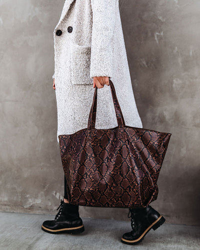 Mylah Glossy Python Tote Bag - Chocolate
