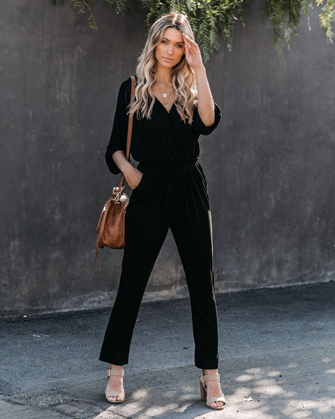 My Only Sunshine Pocketed Knit Jumpsuit - Black