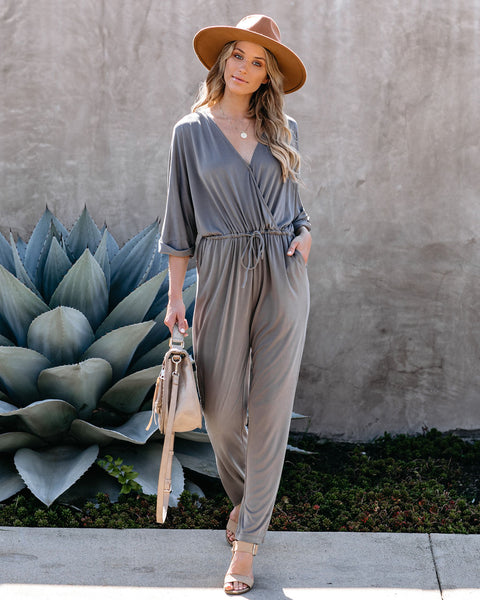 My Only Sunshine Pocketed Knit Jumpsuit - Dark Grey