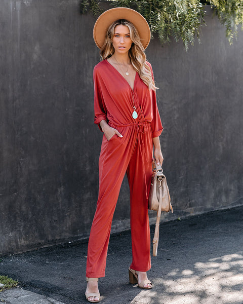 My Only Sunshine Pocketed Knit Jumpsuit - Rust