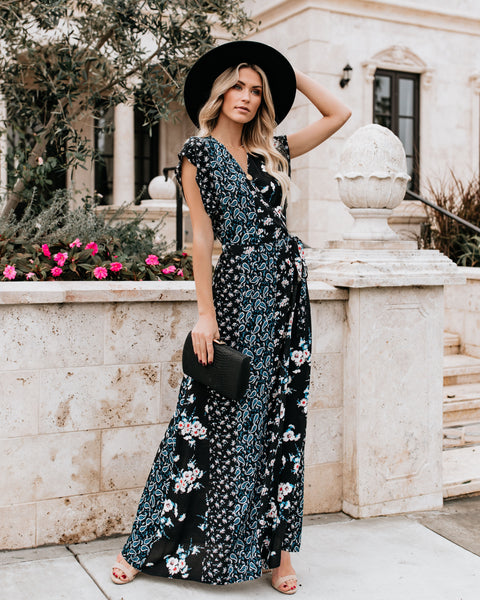 Myriad Mixed Print Wrap Maxi Dress