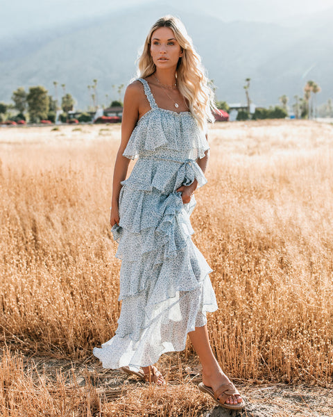 PREORDER - Mystic Ocean Tiered Ruffle Maxi Dress