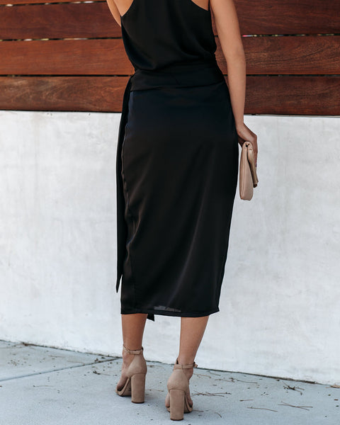 Mystique Satin Wrap Midi Skirt - Black - FINAL SALE