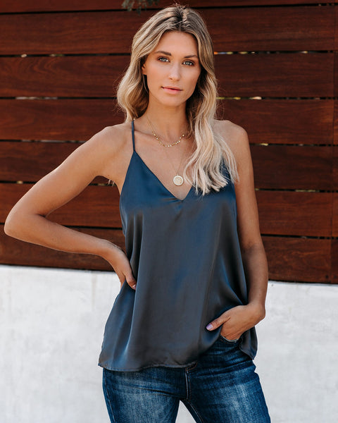 Mystique Satin Racerback Tank - Charcoal - FINAL SALE
