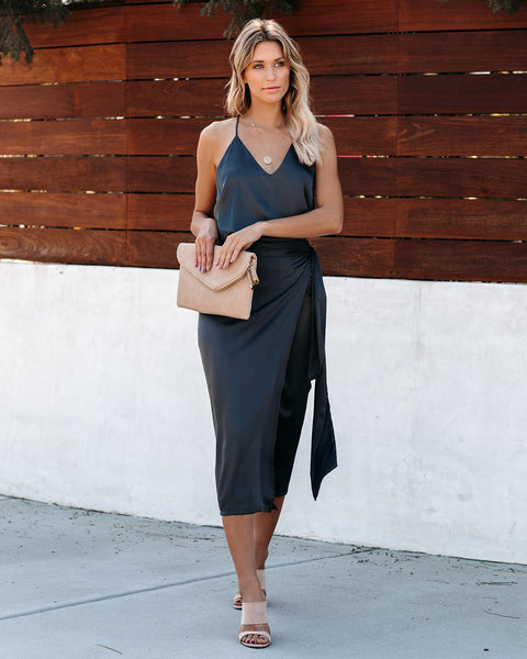 Mystique Satin Wrap Midi Skirt - Charcoal - FINAL SALE