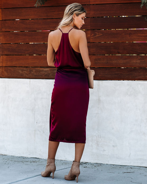 Mystique Satin Wrap Midi Skirt - Wine