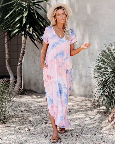 Mythical Pocketed Tie Dye Knit Maxi Dress