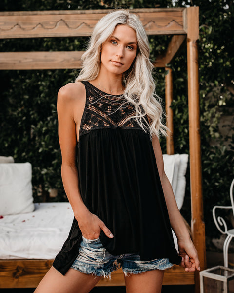 My Treasure Crochet Lace Tank - Black