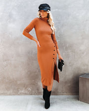 Naive Button Front Ribbed Turtleneck Midi Dress