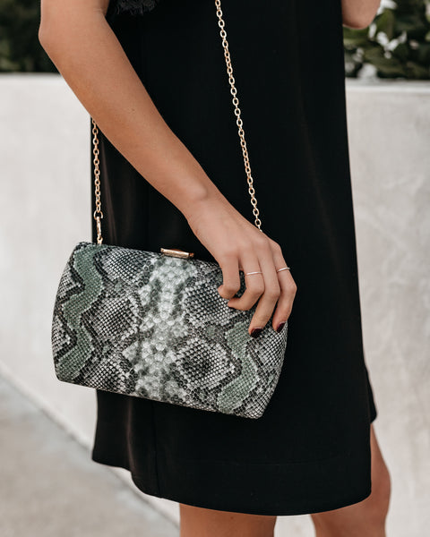 Nashville Snake Skin Clutch - Green Multi