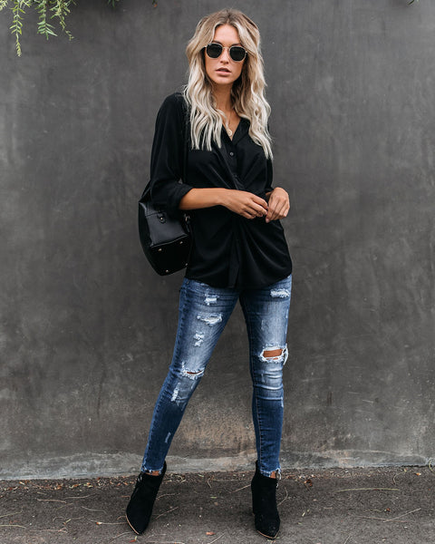 Natalia Button Down Twist Blouse - Black - FINAL SALE