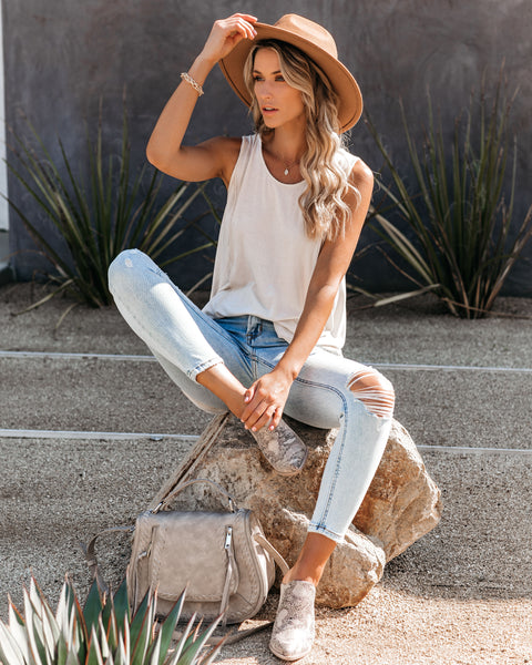 Natalie Distressed High Low Knit Tank - Cream