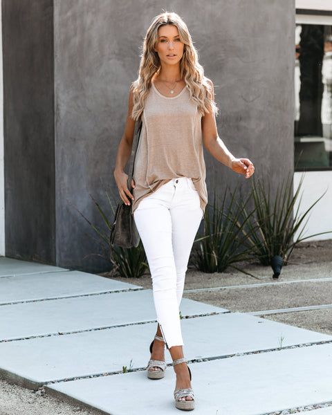 Natalie Distressed High Low Knit Tank - Light Mocha
