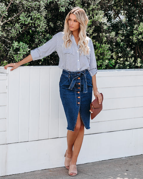 Nate Pocketed Denim Pencil Skirt