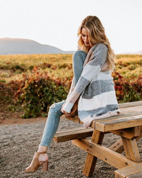 Natural State Striped Pocketed Cardigan