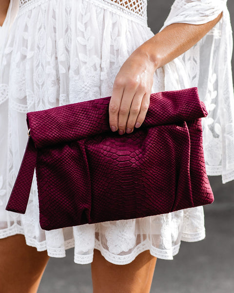 Naya Snake Embossed Crossbody Clutch - Burgundy