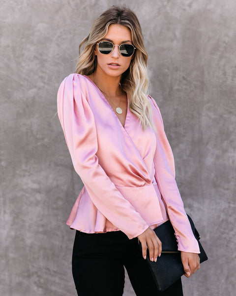 Need Your Love Satin Wrap Peplum Blouse - Mauve  - FINAL SALE