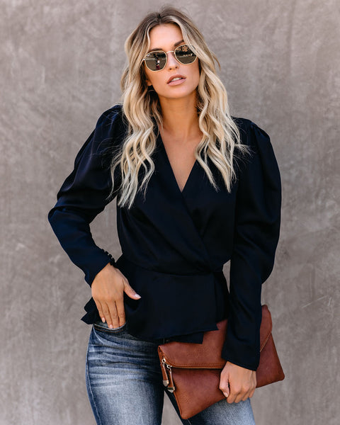 Need Your Love Satin Wrap Peplum Blouse - Navy - FINAL SALE
