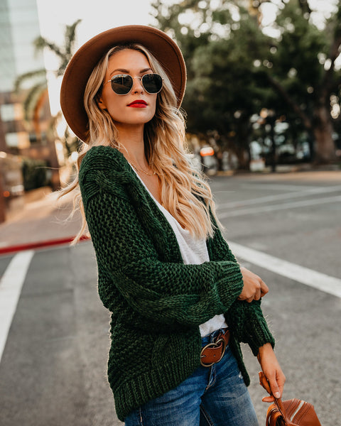 PREORDER - Nestled Up Cable Knit Cardigan - Green