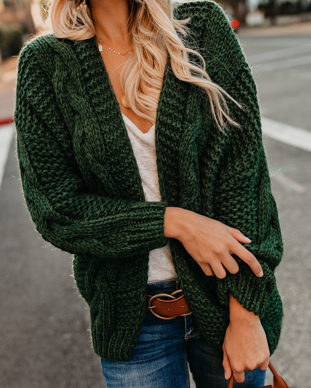 Preorder Nestled Up Cable Knit Cardigan Green Vici