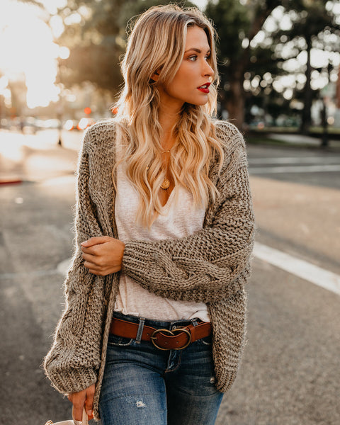 PREORDER - Nestled Up Cable Knit Cardigan - Olive