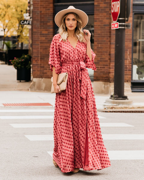 Never Grow Up Swiss Dot Kimono Maxi Dress