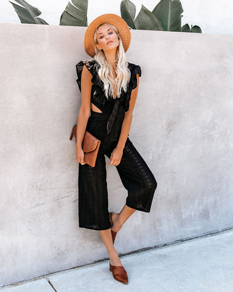 Never Let You Go Cotton Eyelet Jumpsuit - Black