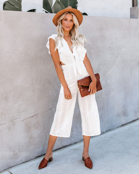 Never Let You Go Cotton Eyelet Jumpsuit - Off White