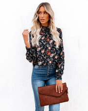 Never Say Never Floral Mock Neck Ruffle Blouse