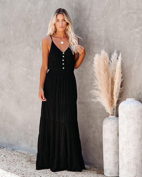New Moon Tiered Maxi Dress - Black