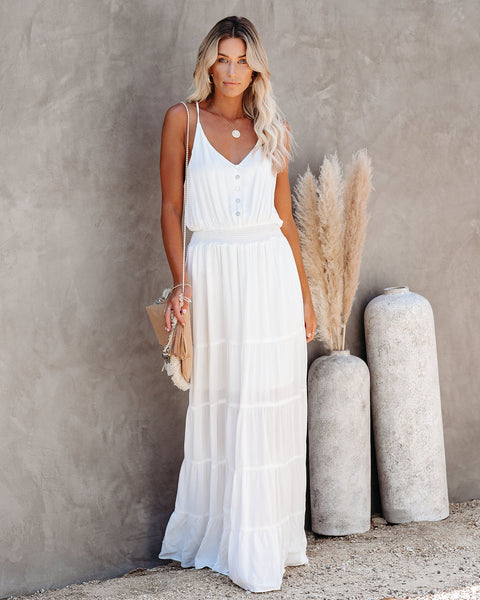 New Moon Tiered Maxi Dress - Off White