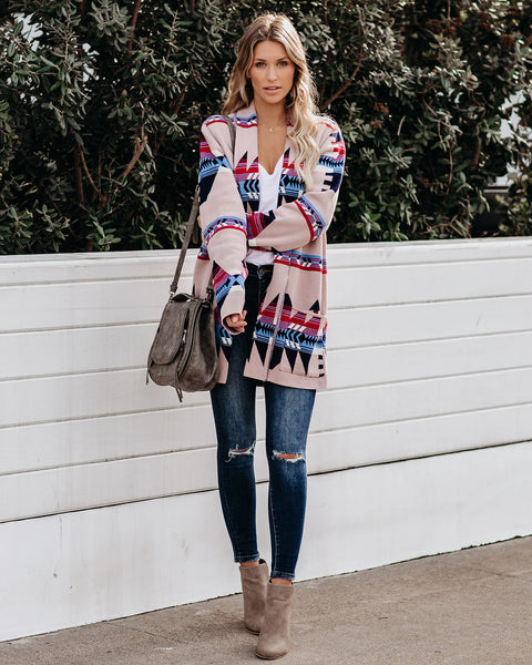 Nicolet Cotton Pocketed Aztec Cardigan - FINAL SALE