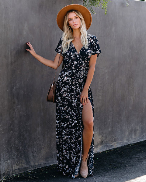 Night Bloom Bardot Wrap Maxi Dress