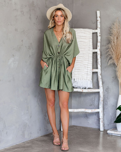 Niko Pocketed Button Down Kimono Dress - Olive