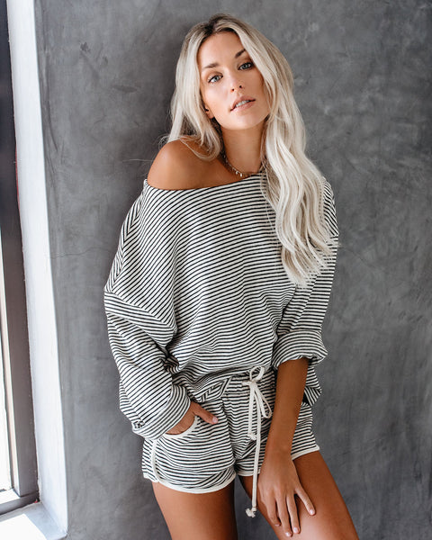 PREORDER - No Bad Days Striped Cotton Long Sleeve Top