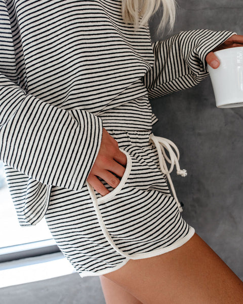 No Bad Days Striped Cotton Pocketed Shorts