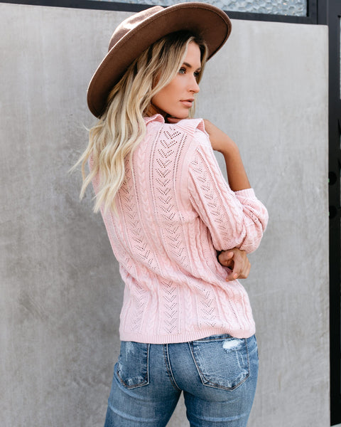 Nob Hill Ruffle Cable Knit Sweater - Blush - FINAL SALE